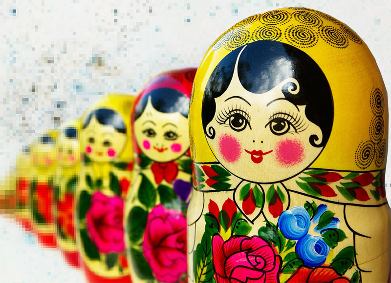Virtual reality russian dolls