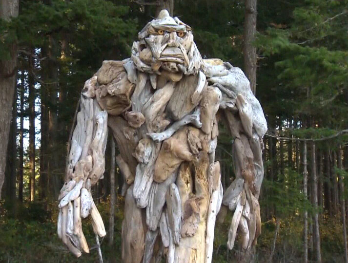 Sasquatch Sculpted from Driftwood Installed on Canadian Island