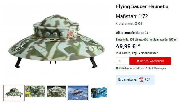 Nazi UFO Toy Withdrawn after 'Historical Inaccuracy' Objections